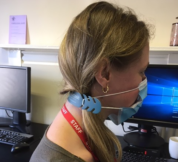 Sophie at Hi Kent clinic wearing her Hearbase Ear Saver